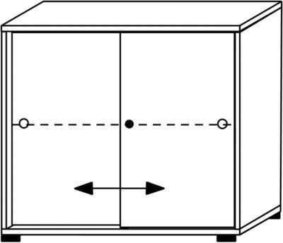 VERA Schiebetürenschrank - 1 Fachboden, 2 Ordnerhöhen, Höhe 735 mm