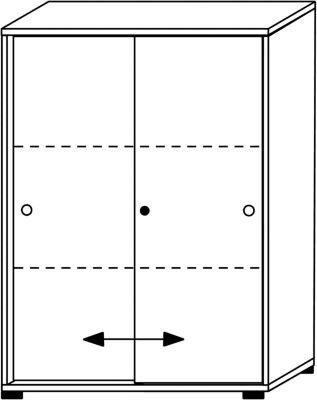 VERA Schiebetürenschrank - 2 Fachböden, 3 Ordnerhöhen, Höhe 1090 mm