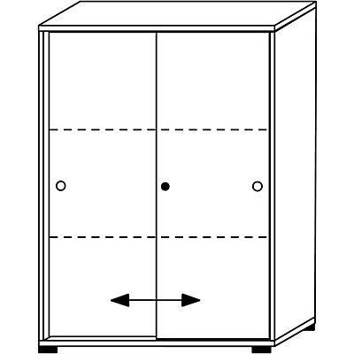 Wellemöbel VERA Schiebetürenschrank - 2 Fachböden, 3 Ordnerhöhen, Höhe 1090 mm