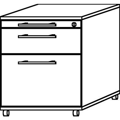 HAMMERBACHER Rollcontainer - 1 Utensilienschub, 1 Materialschub, 1 Hängeregistratur, Tiefe 580 mm