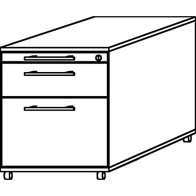 HAMMERBACHER Rollcontainer - 1 Utensilienschub, 1 Materialschub, 1 Hängeregistratur, Tiefe 800 mm