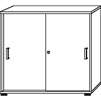 HAMMERBACHER Schiebetürenschrank - Höhe 1100 mm, 2 Fachböden
