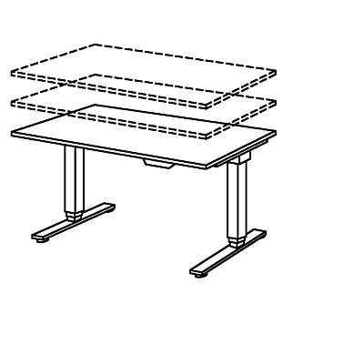 UPLINER-2.0 Stehschreibtisch - T-Fuß-Gestell, Breite 1200 mm