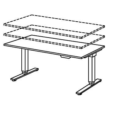 UPLINER-2.0 Bureau sur pieds - piétement en T, largeur 1600 mm