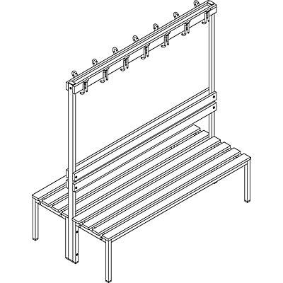 Garderobenbank - doppelseitig, mit Lehne, HxT 1700 x 850 mm