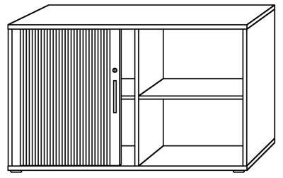 Querrollladenschrank - je 1 Fachboden, 1 Trennwand