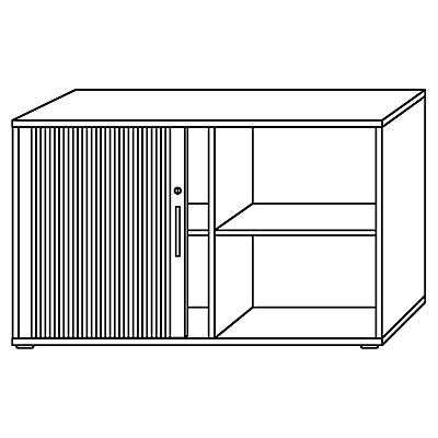 Hammerbacher Querrollladenschrank - je 1 Fachboden, 1 Trennwand