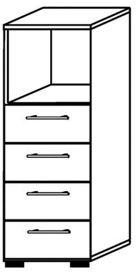office akktiv RENATUS Regalschrank - 1 Fach offen, 4 Schubladen