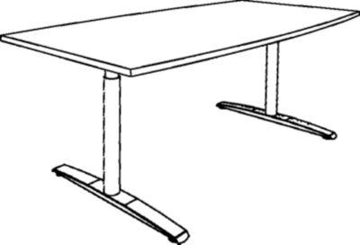 THEA Besprechungstisch - mit T-Fußgestell, Länge 1800 mm
