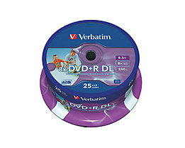 Verbatim DVD+R 43667 8x 8,5GB DL 240Min. Spindel 25 St./Pack.