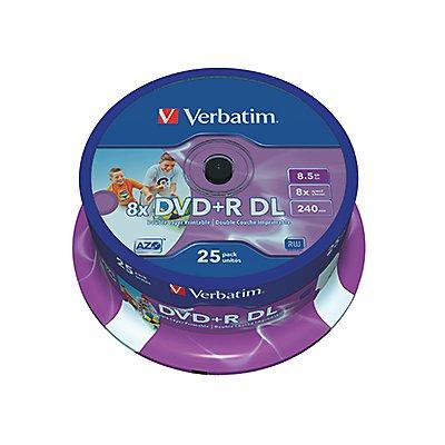 Verbatim DVD+R 43667 8x 8,5GB DL 240Min. Spindel 25 St./Pack.
