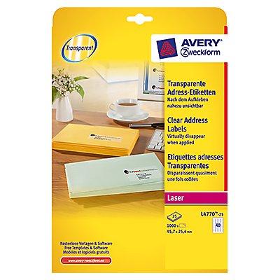 Avery Zweckform Adressetikett L4770-25 transparent 1000 St./Pack.