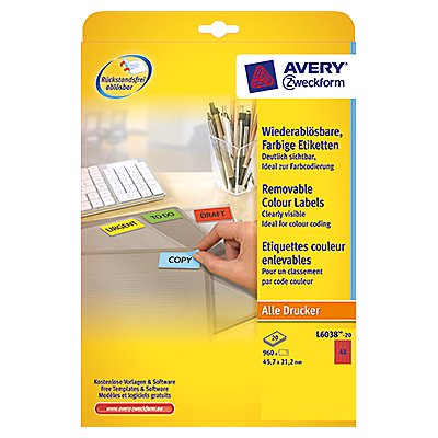 Avery Zweckform Etikett 45,7x21,2mm 960 St./Pack.