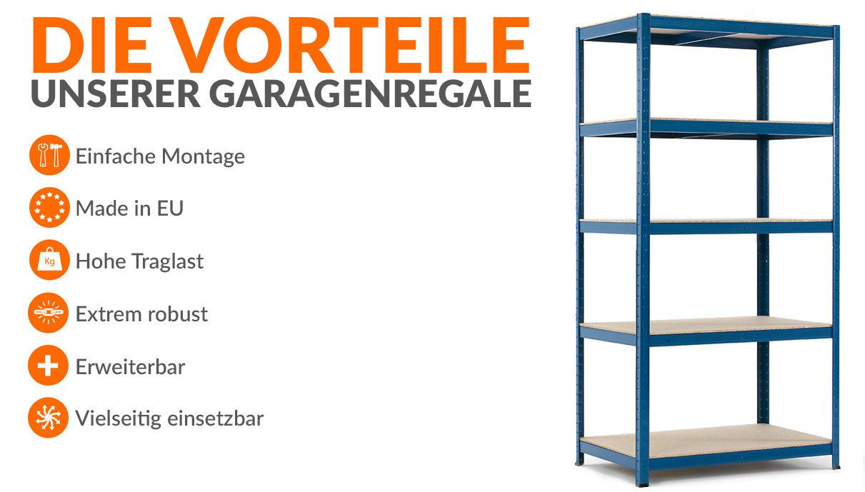 Starkes Garagenregal mit 265 kg Tragfähigkeit pro Regalboden