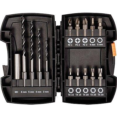 PROJAHN | Bohrer-Bit-Box 15-tlg. Holzbohrer mit E 6.3 Schaft Ø 3, 4, 5, 6 mm Bits: PZ, TX,