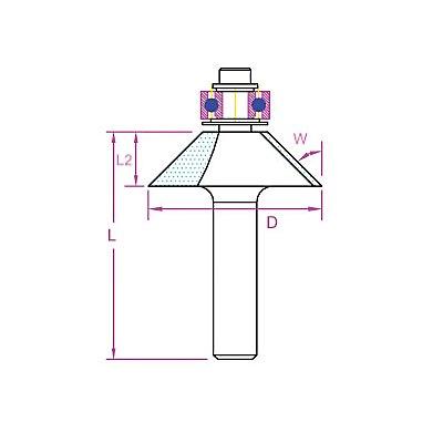 PROJAHN | Fasefräser mit Kugellage D 32 mm, L 44,8 mm, L2 13 mm