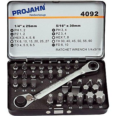 "PROJAHN   1/4"" + 5/16"" Kombi Bit Box 32tlg incl. Bit-Doppelring-Ratschenschlüssel"