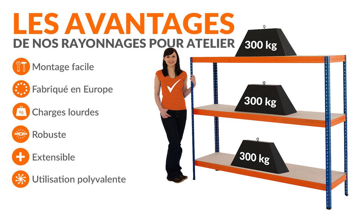 Étagères métalliques pour atelier - charge max. 300 kg
