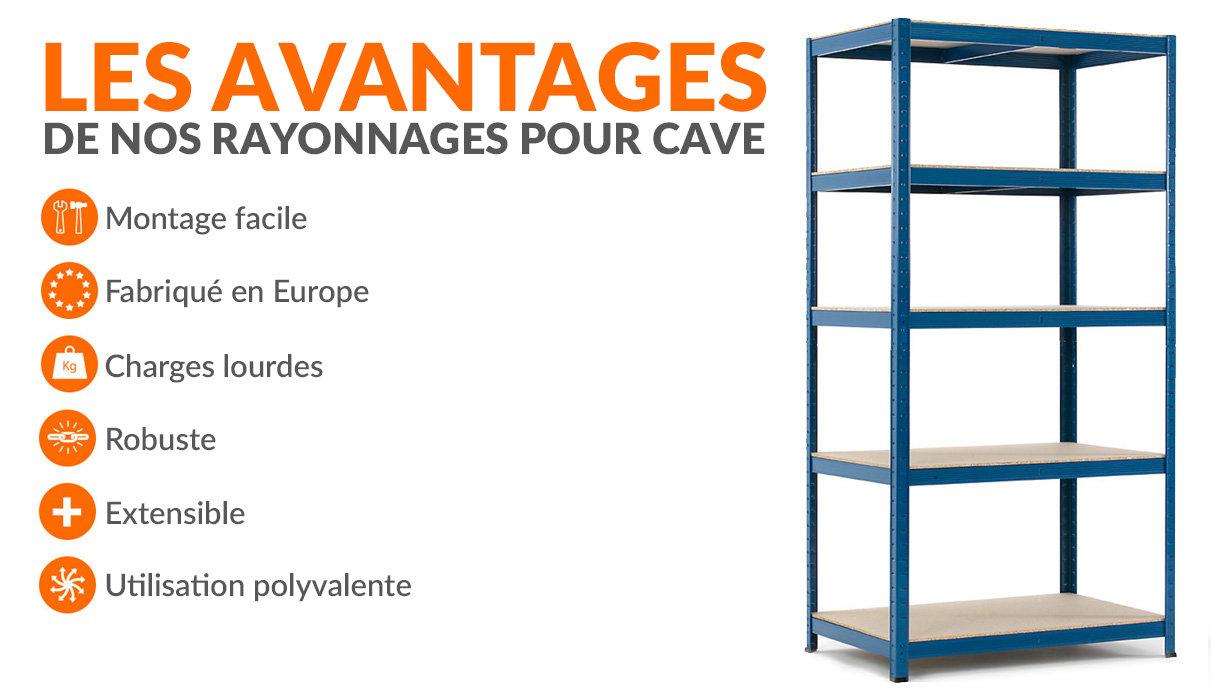 Étagères métalliques pour cave - 265 kg par niveau