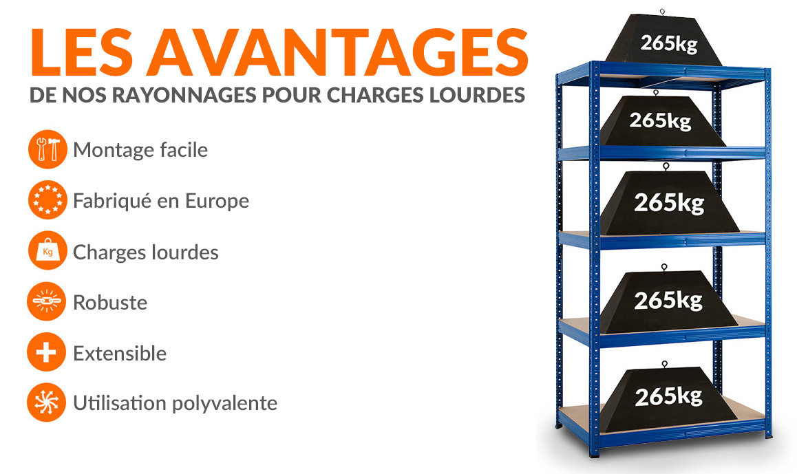 Étagère métallique pour charges lourdes - 265 kg