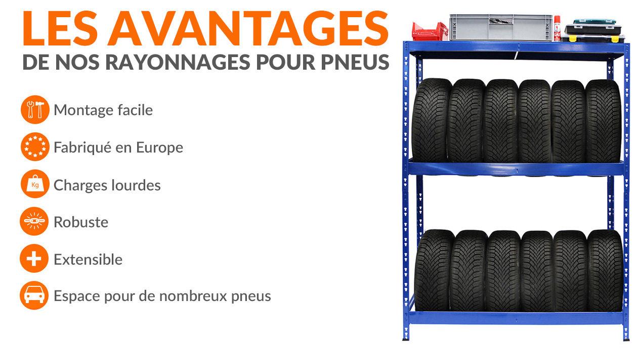 Rayonnage pour pneus - jusqu'à 12 pneus - garage