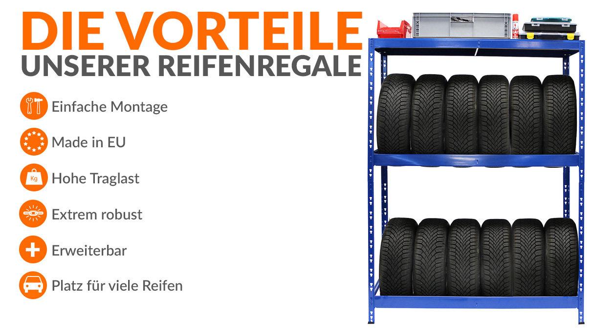 Praktische Reifenregale mit Platz für bis zu 18 Reifen