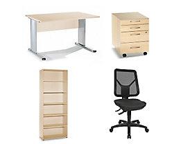 Büro-Set Standard - Ahorn-Dekor oder reinweiß - Ahorn-Dekor