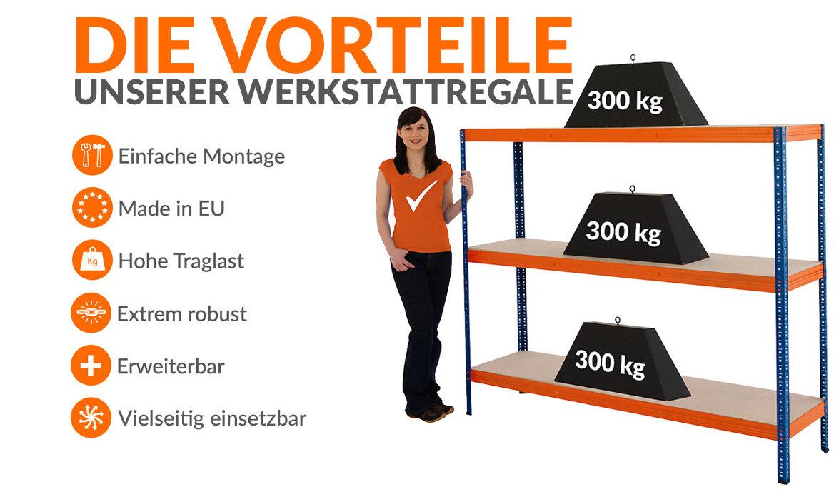 Werkstattregal mit 300 kg Traglast pro Fachboden
